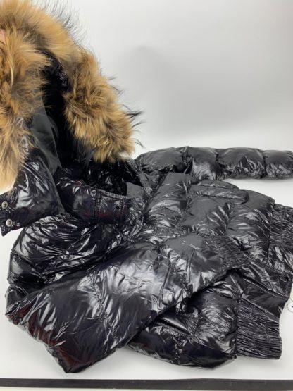 moncler mont parlak siyah kapuson