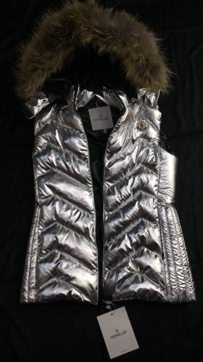 moncler yelek silver zigzag kapusonlu
