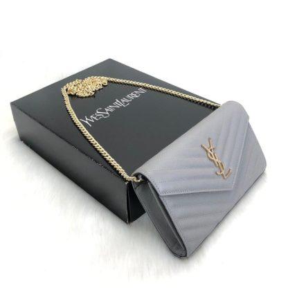 ysl saint laurent canta Quilted caviar clutch gri omuz cantasi tirtikli deri ithal 22.5x14 cm