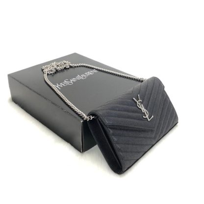 ysl saint laurent canta Quilted caviar clutch silver omuz cantasi tirtikli deri ithal 22.5x14 cm
