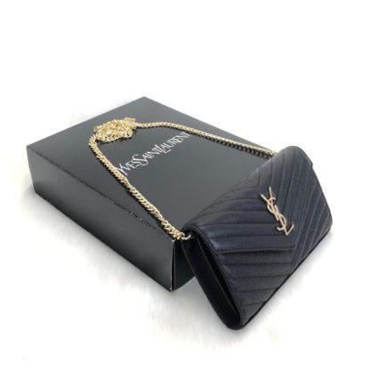 ysl saint laurent canta Quilted caviar clutch siyah omuz cantasi tirtikli deri ithal 22.5x14 cm