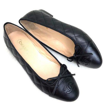 chanel ayakkabi balerinas babet kapitone siyah