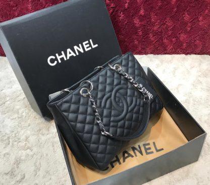 chanel canta shopping siyah suni deri 35x25