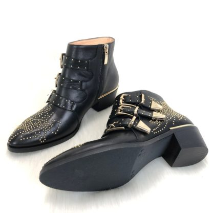 chloe ayakkabi susanna siyah gold deri bot