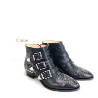 chloe ayakkabi susanna siyah silver deri bot