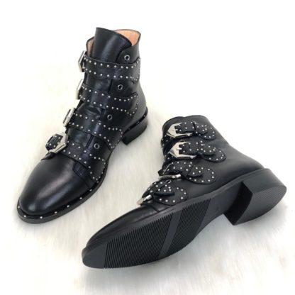 givenchy ayakkabi multi strap siyah suet deri bot