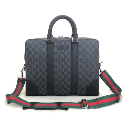 gucci canta supreme briefcase siyah gri desen laptop