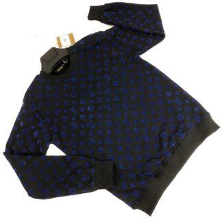louis vuitton sweatshirt monogram jacquard siyah mavi monogram