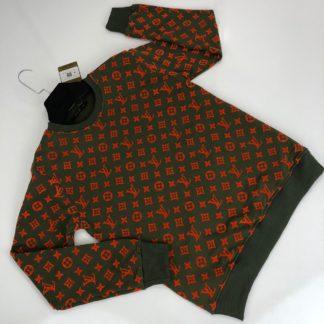 louis vuitton sweatshirt monogram jacquard yesil turuncu monogram