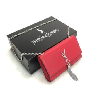 ysl saint laurent canta medium kate tassel chain kirmizi silver