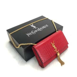 ysl saint laurent canta medium kate tassel kirmizi gold