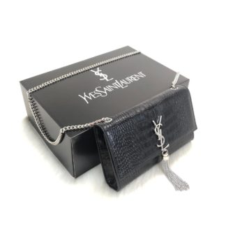 ysl saint laurent canta medium kate tassel siyah silver