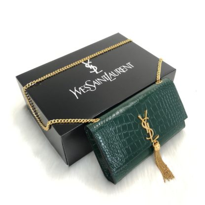 ysl saint laurent canta medium kate tassel yesil gold