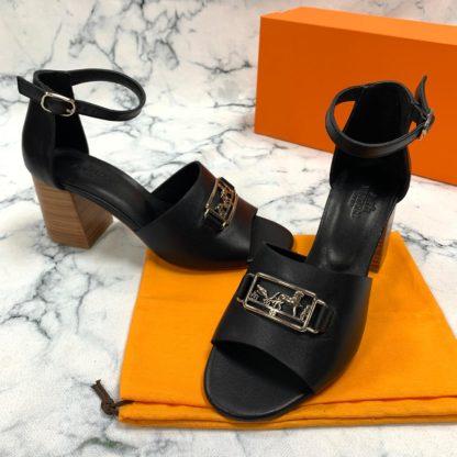 hermes terlik 9cm topuklu sandalet siyah