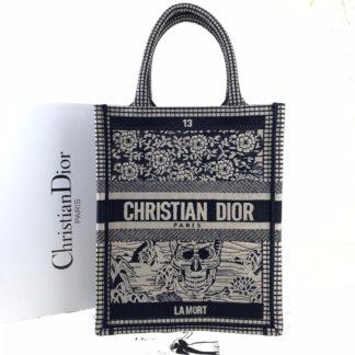 Christian Dior canta Vertical Book Tote full el dokuma siyah beyaz 34x27 cm