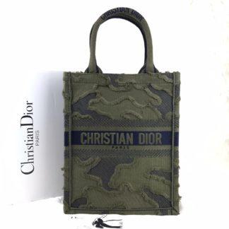 Christian Dior canta Vertical Book Tote full el dokuma yesil 34x27 cm