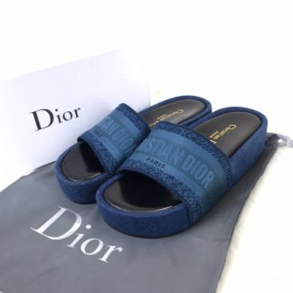 Christian Dior terlik hakiki deri lacivert taban ve uzeri keten orgu