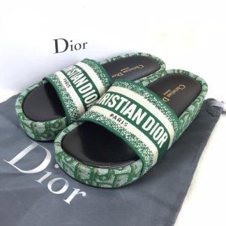 Christian Dior terlik hakiki deri yesil taban ve uzeri keten orgu