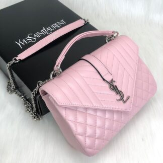 yves saint laurent ysl canta medium collage pembe silver capitone 24x17