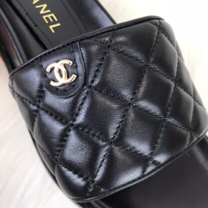 chanel terlik Quilted Mule sandals siyah