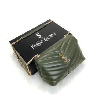 yves saint laurent ysl canta loulou medium yesil gold 28x19cm
