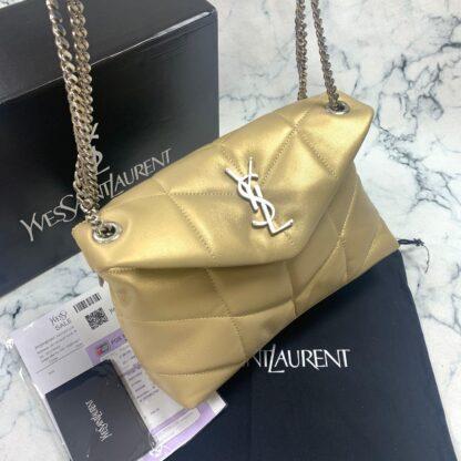 yves saint laurent ysl canta loulou puffer gold