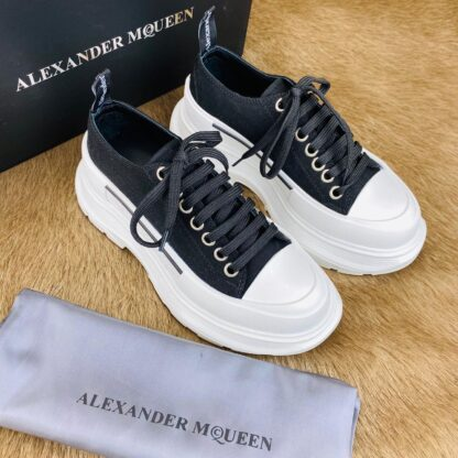 alexander mcqueen ayakkabi siyah sneaker Tread Slick kaucuk taban