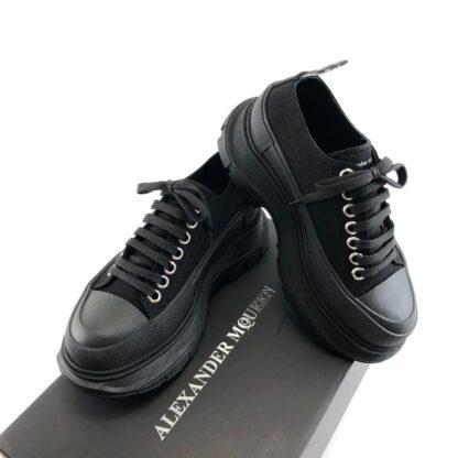 alexander mcqueen ayakkabi siyah sneaker Tread Slick kaucuk taban 6cm