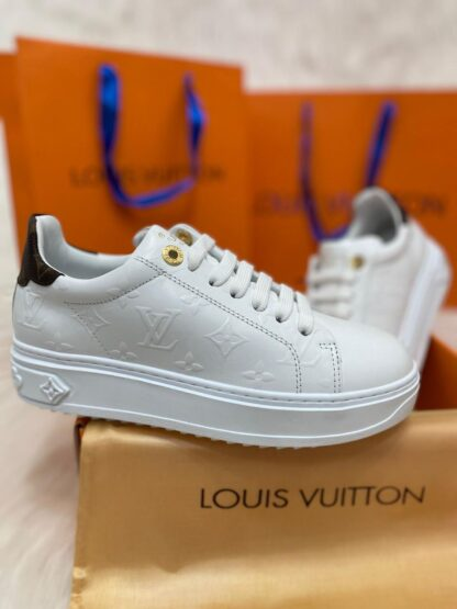 louis vuitton ayakkabi time out sneaker beyaz taban 4cm