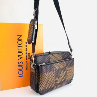 louis vuitton canta kahve lv2 collection  trio messenger postaci 25x18cm