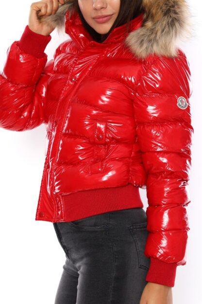 moncler mont beli lastikli kirmizi parlak yatay desen kapuson QR kod