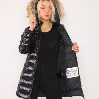 moncler mont parlak siyah uzun kapuson QR kod