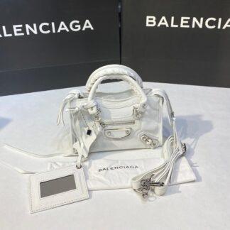 balenciaga canta city miniboy beyaz gumus 19x12