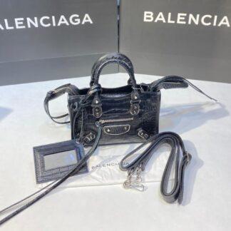 balenciaga canta city miniboy siyah crocodil silver 19x12