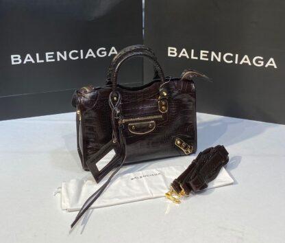 balenciaga canta city orta boy kahve crocodil gold 31x23 cm