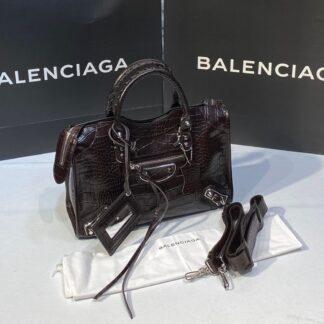 balenciaga canta city orta boy kahve crocodil silver 31x23 cm