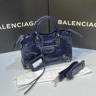 balenciaga canta city orta boy lacivert crocodil silver 31x23 cm