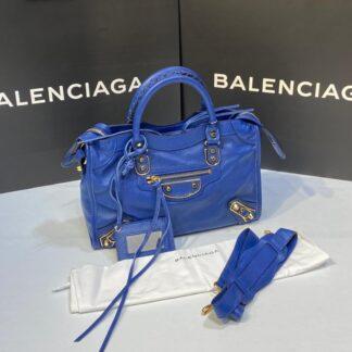balenciaga canta city orta boy saks mavi gold 31x23 cm