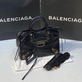balenciaga canta city orta boy siyah crocodil gold 31x23 cm