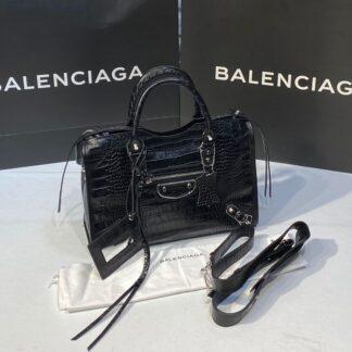 balenciaga canta city orta boy siyah crocodil silver 31x23 cm