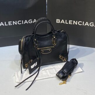 balenciaga canta city orta boy siyah gold 31x23 cm