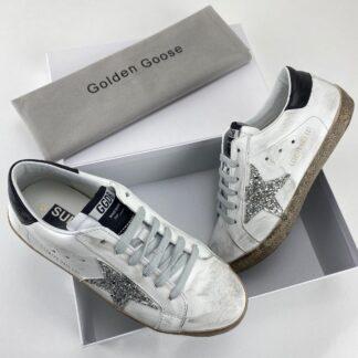 golden goose ayakkabi super star sneaker beyaz silver simli