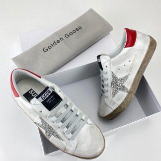 golden goose ayakkabi super star sneaker kirmizi beyaz simli