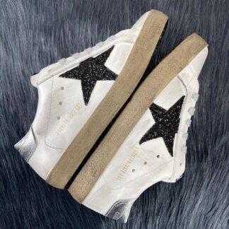 golden goose ayakkabi super star sneaker siyah beyaz simli