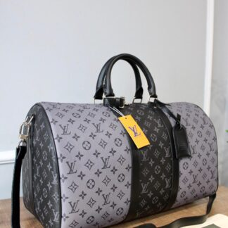 louis vuitton canta keepall siyah gri monogram bandouliere el valizi 50x29x23