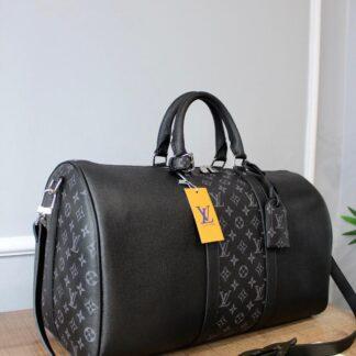 louis vuitton canta keepall siyah monogram bandouliere el valizi 50x29x23