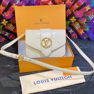 louis vuitton canta pont 9 krem crocodil 23x17 cm