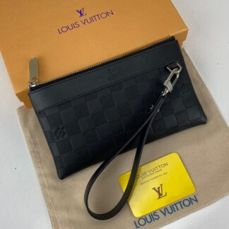 louis vuitton cuzdan wrislet wallet portfoy damier duz siyah 21x12 cm