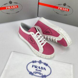 prada ayakkabi wheel gabardine sneakers pembe