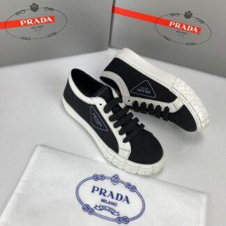 prada ayakkabi wheel gabardine sneakers siyah beyaz